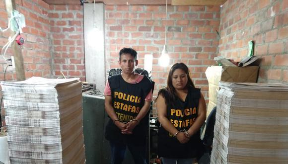 Convivientes y cómplices. Vásquez y Terán montaron un centro de producción de billetes a gran escala en asentamiento humano. (PNP)