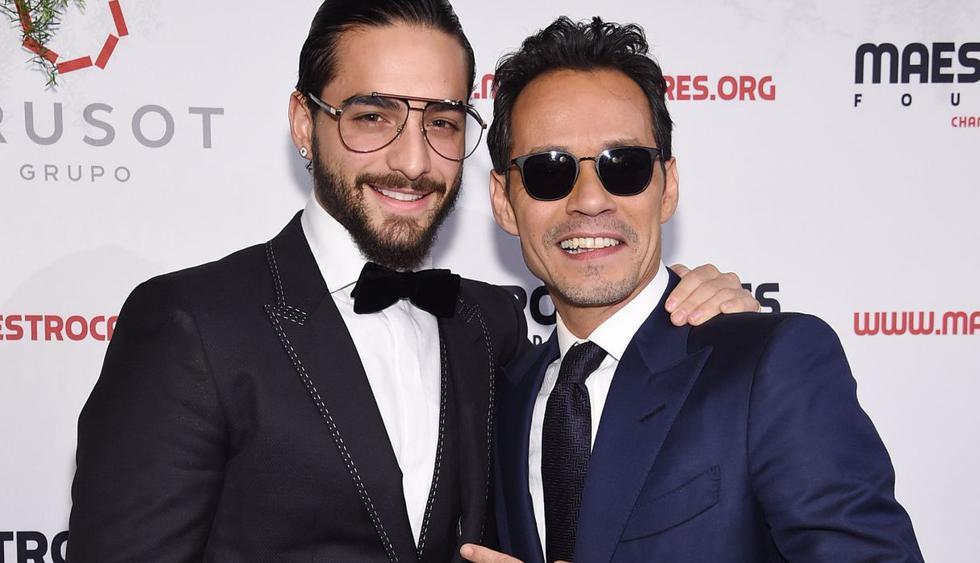 Maluma y Marc Anthony tuvieron emotivo reencuentro en Colombia. (Foto: AFP)