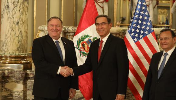 """El secretario de Estado también agradeció a Perú por """"haber reconocido el gobierno interino de Juan Guaidó"""" en Venezuela. (Foto: Juan Ponce / GEC)"""