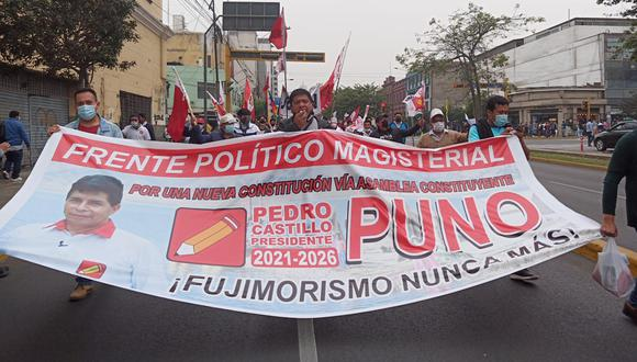 EL MISMO LIBRETO. Nueva fachada del Conare - Sute participa, desde el martes, en las marchas a favor del candidato Pedro Castillo.