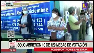 Polideportivo de San borja: solo abrieron 10 de 129 mesas de votación