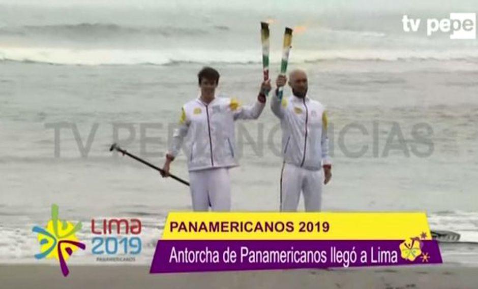 Luis Horna fue parte del relevo final de la Antorcha Panamericana. (Captura: TV Perú)