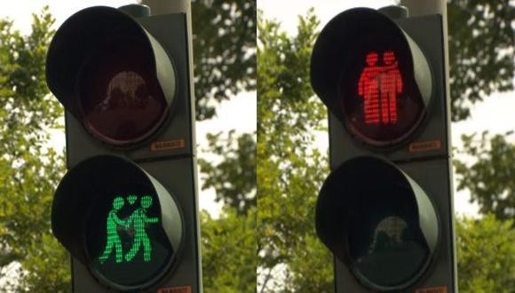Alemania instaló semáforos con motivos homosexuales en calles de Hamburgo. (NDR)