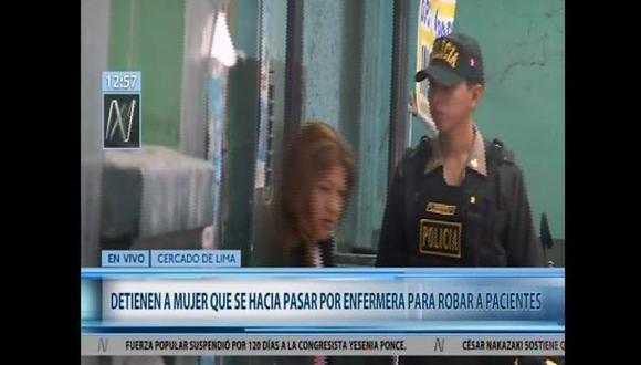 Merly Catherine Cornejo Palomino (33) fue capturada junto a su cómplice por agentes de la Depincri de Cercado de Lima. (Captura de video)
