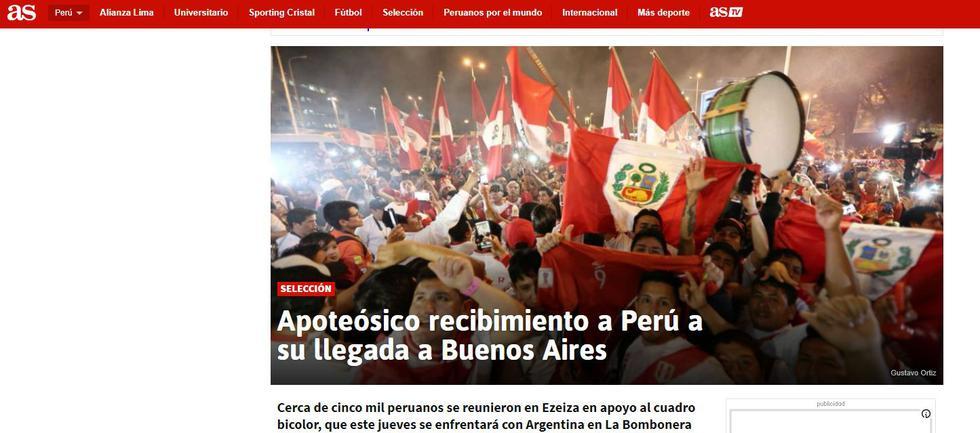 AS de Argentina destacó recibimiento de Perú en su país.