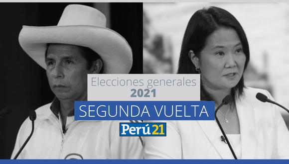 Los candidatos presidenciales Pedro Castillo de Perú Libre y Keiko Fujimori de Fuerza Popular se disputan este domingo el sillón presidencial. (Perú21)