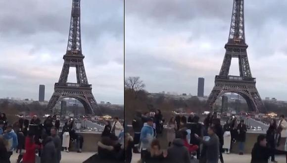 El video, grabado bajo la emblemática Torre Eiffel, ha puesto a bailar a miles en redes sociales. (Foto: captura Facebook)