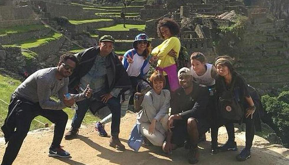 Pharrell Williams en Machu Picchu. Llegó al Perú junto a su esposa y su representante. (Twitter: @lbuddy22)