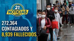Cifras se elevan a 272,364 contagiados y 8,939 fallecidos por COVID-19
