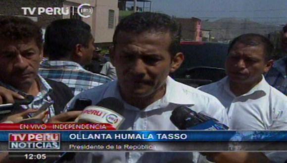 Ollanta Humala se limitó a resaltar la intención de trabajar por el país. (TV Perú)