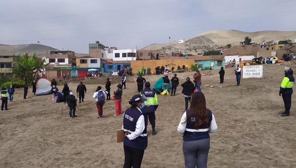 Policía Nacional desalojó a invasores que habían instalado carpas en sitio arqueológico de Ancón