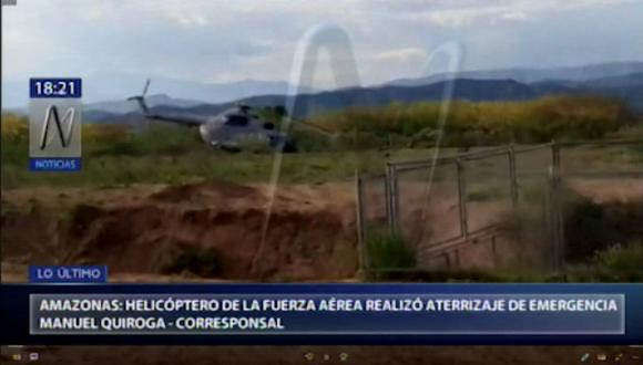 El aterrizaje de emergencia del helicóptero no dejó heridos. (Canal N)