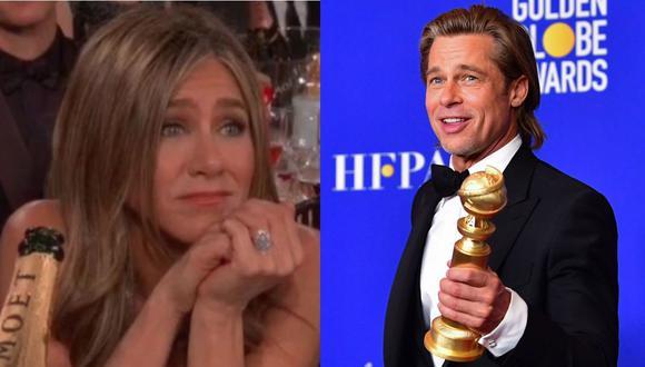 Esta fue la reacción de Jennifer Aniston cuando Brad Pitt recibió su Globos de Oro. (Foto: Captura de video/AFP)