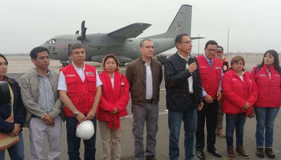 Congresistas, ministros y el presidente Martín Vizcarra partieron del grupo aéreo N° 8 hacia las zonas afectadas por el sismo (Rolly Reyna/GEC).