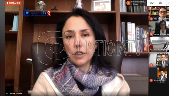 La fiscal Geovana Mori solicitó 36 meses de prisión preventiva para Nadine Heredia Alarcón y los exministros Luis Miguel Castilla y Eleodoro Mayorga. (Captura Justicia TV)