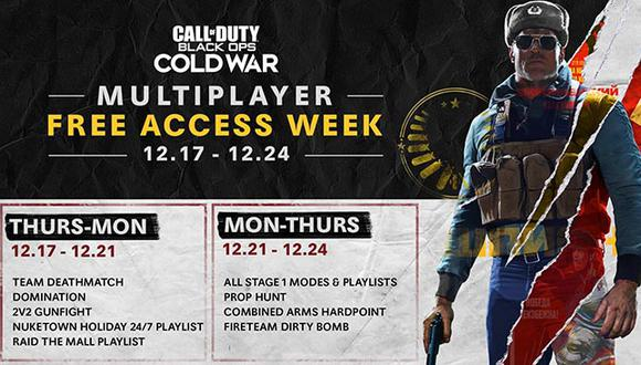 Todos los gamers podrán jugar gratis el modo multijugador de 'Call of Duty: Black Ops Cold War' hasta el 24 de diciembre.