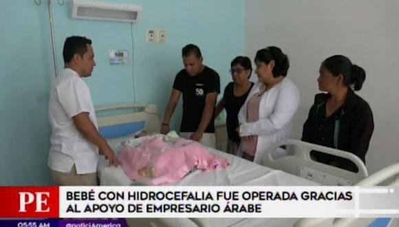 Una bebe con hidrocefalia fue operada con éxito en una clínica de Piura gracias al apoyo económico del empresario árabe, Yaqoob Yusuf Ahmed Mubarak. (Foto: Captura 'América Noticias')