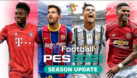 Cristiano Ronaldo, Lionel Messi, Alphonso Davies y Marcus Rashford estarán en la portada de PES 2021. (Difusión)