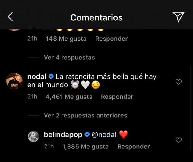 Belinda y Christian Nodal en redes sociales. (Foto: Captura Instagram)