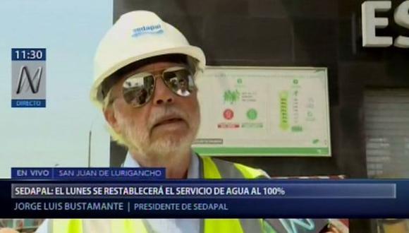 El presidente de Sedapal, Jorge Luis Bustamante, estimó que este lunes 28 de enero el distrito de San Juan de Lurigancho contaría con el servicio de agua potable. (Video: Canal N)