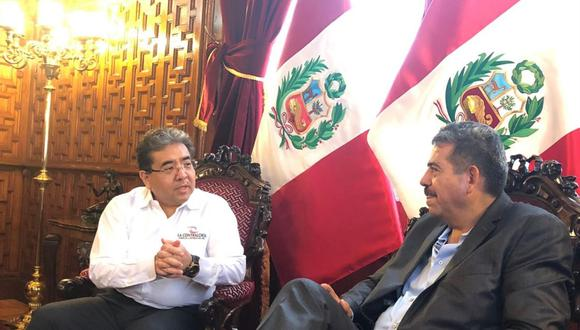 El Congreso de la República informó de esta reunión acompañado de una fotografía de ambas autoridades en un salón del Palacio Legislativo.  (Foto: Andina)