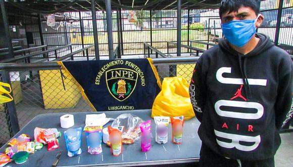El sujeto llevaba los supuestos artículos de limpieza en una bolsa plástica, junto a algunos víveres. (Foto: INPE)