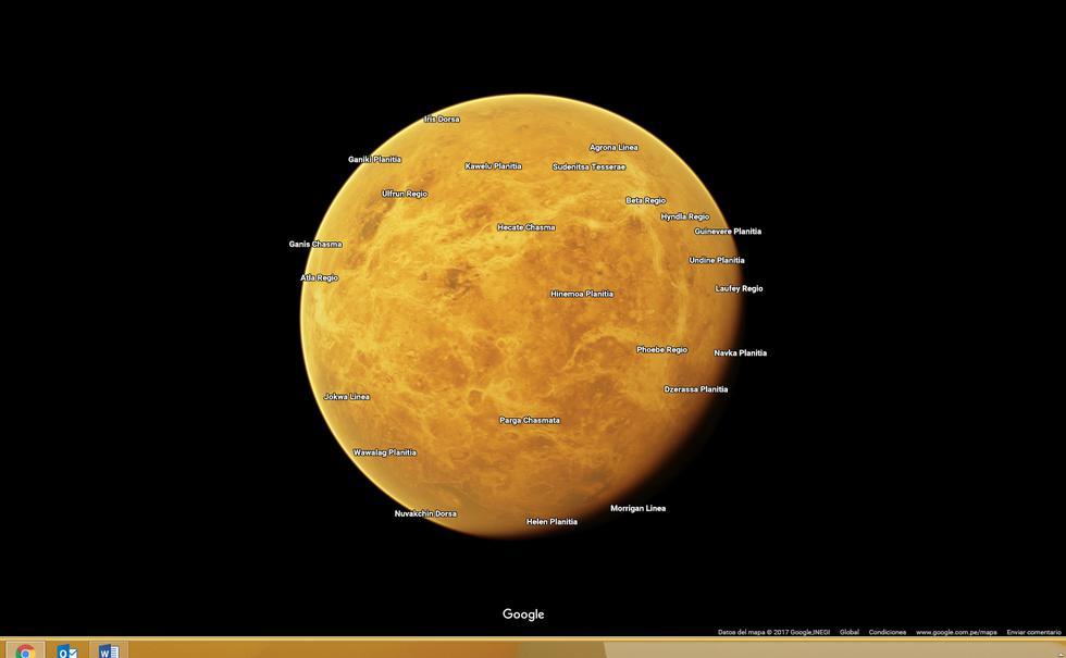 Venus es uno de los planetas que se pueden explorar en Google Maps. (Foto: Google Maps)