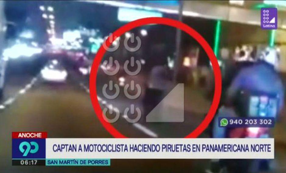 Motociclista fue captado cuando realizaba una maniobra peligrosa. (Captura: Latina)