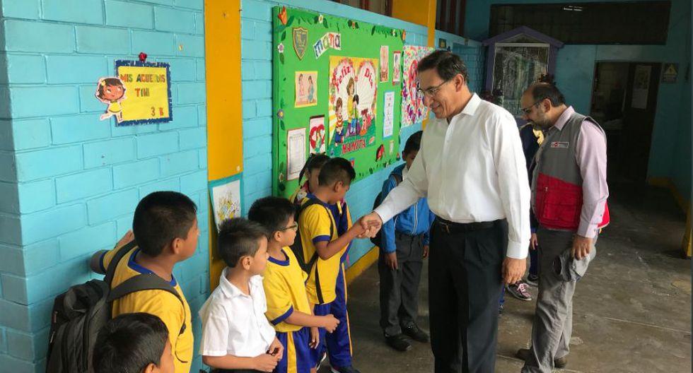 Presidente Vizcarra y ministro de Educación supervisaron colegio de La Victoria. (Presidencia)
