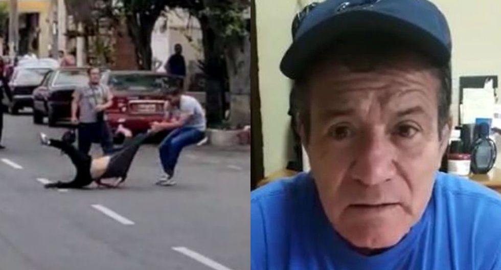 Hijo del 'Chato' Barraza protagoniza pelea en la calle. (Captura de pantalla Trome)