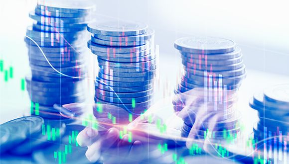Double exposure business financial business data report and stock market concept, stock market or trading graph and coin