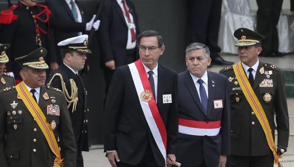 El presidente Martín Vizcarra brindó un discurso por el 198 aniversario de la creación del Ejército del Perú, en Chorrillos. (Foto: GEC / Video: TV Perú)