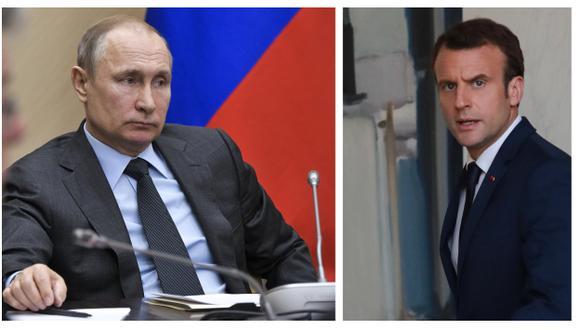 """""""(Putin) no es un ingenuo. Quiere una gran Rusia"""", declara Emmanuel Macron sobre su homólogo ruso (AP/AFP)."""