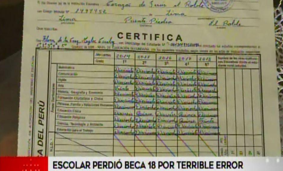 Escolar perdió opción de postular a Beca 18 porque colegio se equivocó al enviar notas. (Captura: América Noticias)
