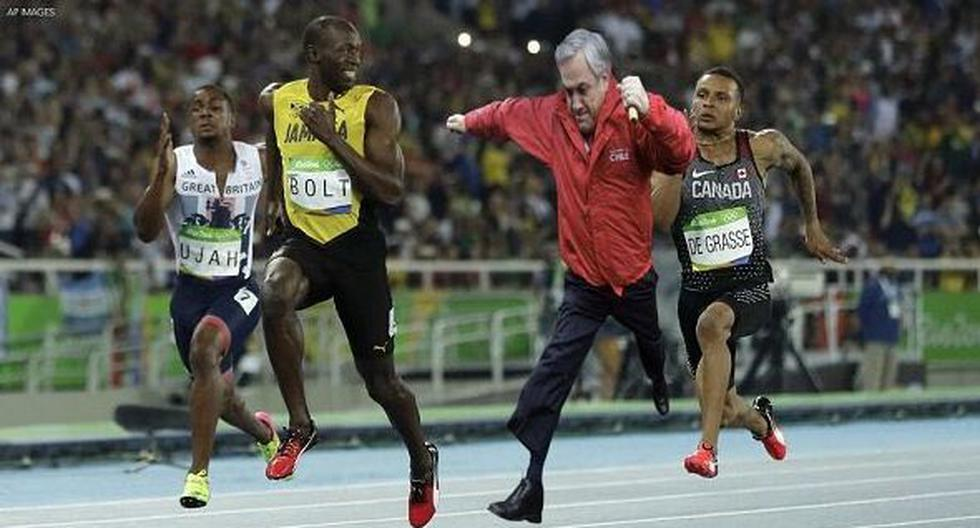 Chile: Presidente Sebastián Piñera compartió un cuadro con su propio meme a Usain Bolt. (Twitter)