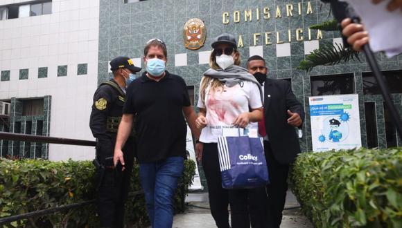 Sofía Franco salió esta tarde de la comisaría tras protagonizar accidente de tránsito. (Foto Gonzalo Córdova/@photo.gec)