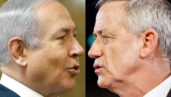 Benjamin Netanyahu yBeny Gantz aparecen en un empate técnico al finalizar las elecciones en Israel. (Fotos: AFP)
