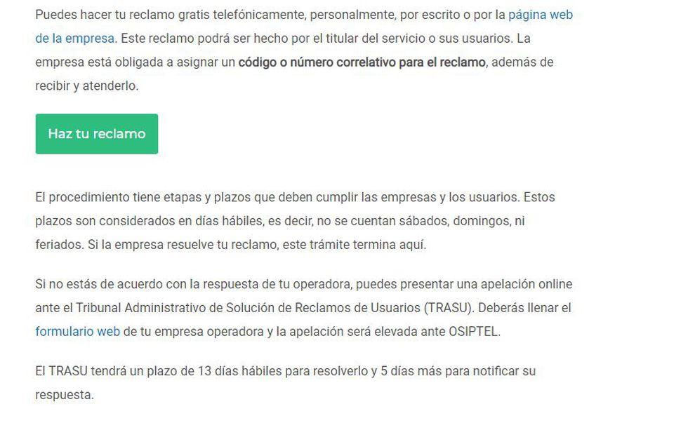 Esta opción se encuentra disponible en la página web de Osiptel.