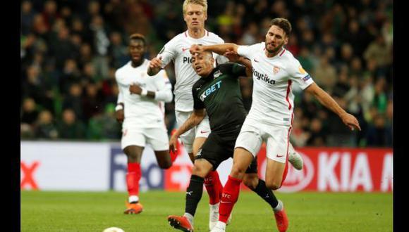 Sevilla vs. Krasnodar chocan por la Europa League en el Sánchez Pizjuán. (Foto: Reuters)