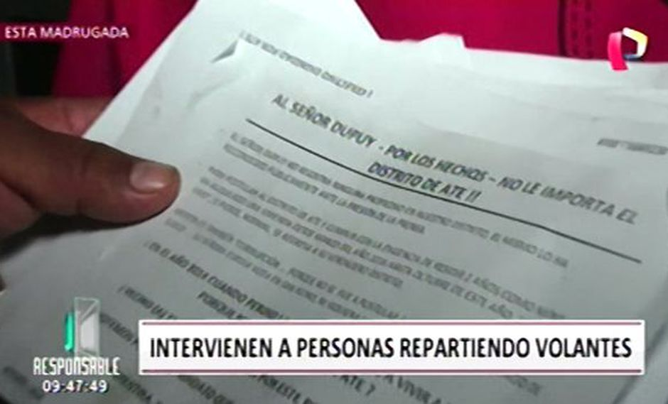Intervienen a repartidores de propaganda electoral. (Foto: Captura de video / Panamericana Televisión)