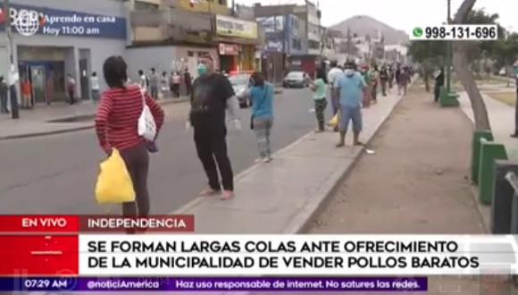 Municipalidad ofrece el kilo de pollo a S/3.50 por cuarentena y vecinos formaron largas colas en Independencia