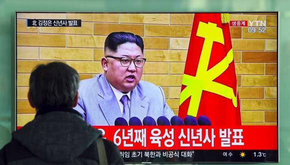 """""""Estamos dispuestos a tomar las medidas necesarias, incluido el envío de nuestra delegación"""", declaró Kim Jong-un en su discurso. (AFP)"""