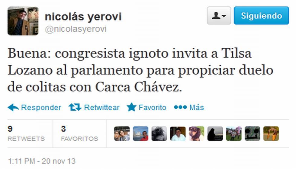 Nicolás Yerovi puso la cuota de humor con su 'tuit'. (Twitter)