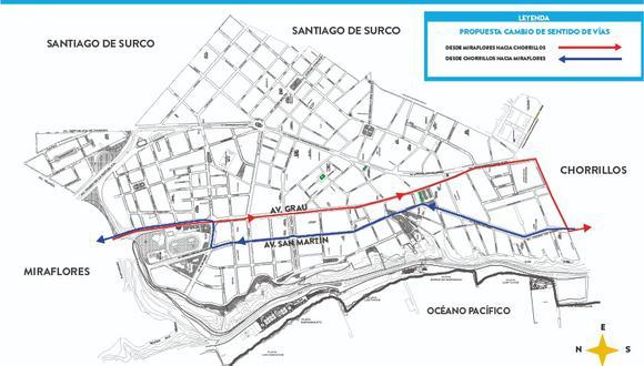 Alistan plan para reordenar tránsito vehicular en Barranco. (Foto de mapa: Municipalidad de Barranco)