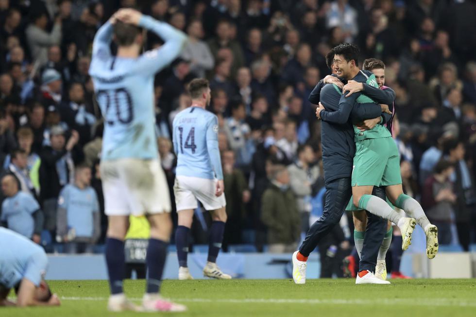 Manchester City venció 4-3 al Tottenham, pero quedó eliminado de la Champions. (AP)