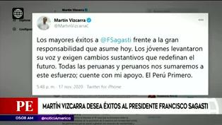 Martín Vizcarra felicitó a Francisco Sagasti como nuevo presidente del Perú