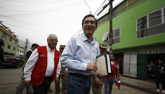 El presidente Martín Vizcarra llegó a Piura para supervisar la puesta en servicio del puente Pichichaco, en Piura. Foto: GEC