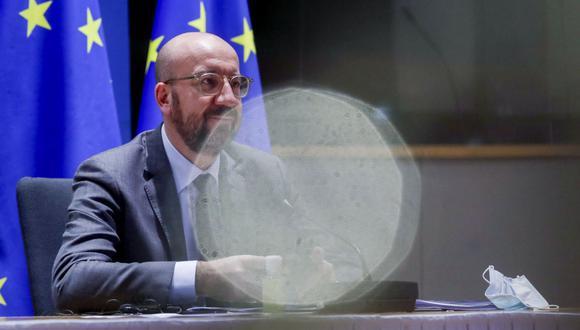 El presidente del Consejo Europeo, Charles Michel, preside una videoconferencia de los miembros del Consejo Europeo sobre Covid-19, en Bruselas, Bélgica. (EFE/OLIVIER HOSLET).