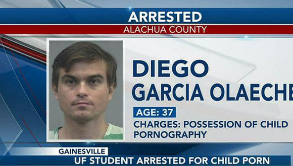El Departamento de Policía de Gainesville detuvo al peruano Diego García Olaechea.  (Foto: captura WCJB).