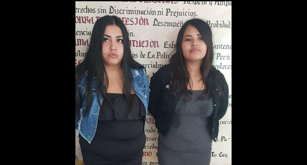 Las detenidas fueron identificadas como Brenda Milagros Espinoza Rea (20) y Audette Angie Zavala Arrago (27) . (Foto: Policía Nacional)